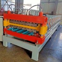 #双层压瓦机#彩钢双层压瓦机设备,上层竹节琉璃瓦型号,下层梯形板波峰45mm!